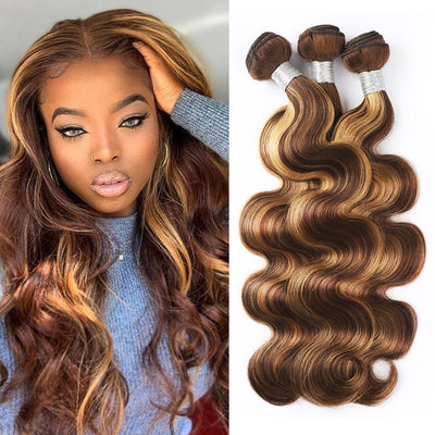 Highlight Bundles Body Wave Remy Human Hair Weaves P4/27 Color