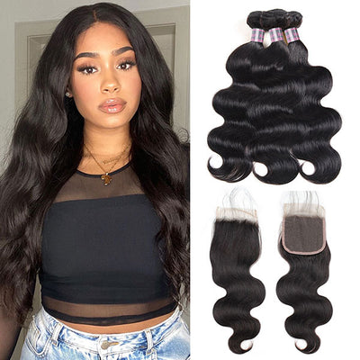Peruvian Virgin Hair Body Wave 3 Bundles With 4*4 Lace Closure 100% Unprocessed Virgin Hair