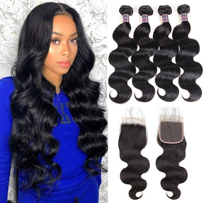 Ishow Brazilian Body Wave Virgin Human Hair 4 Bundles With 4x4 Lace Closure