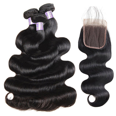 9A Virgin Brazilian Body Wave Human Hair 3 Bundles With 4x4 Lace Closure