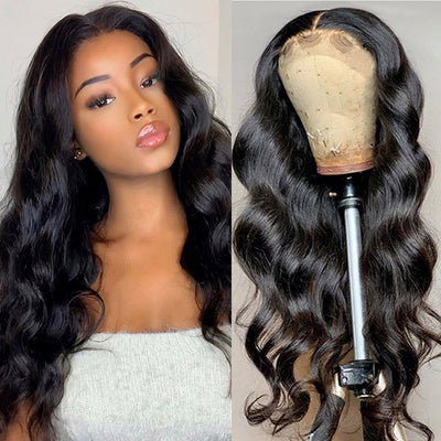 100% Human Hair Lace Part Body Wave Wigs 150% Density