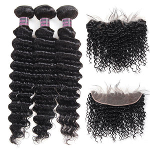 8A Peruvian Deep Wave Human Hair 3 Bundles With 13*4 Ear To Ear Lace Frontal Ishow Non Remy Hair