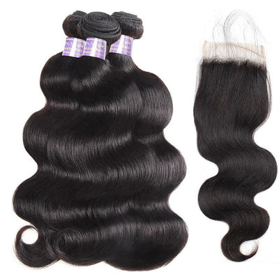 Allove 8A Brazilian Body Wave Hair Weave 3 Bundles With Lace Closure