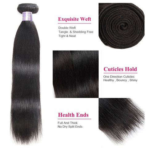 8A Brazilian Virgin Straight Hair 3 Bundles 100% Human Hair