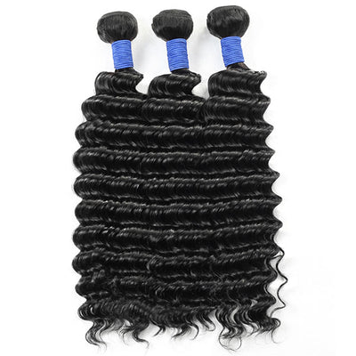 Brazilian Deep Wave Hair 3 Bundles 10A Quality Virgin Remy Hair Weave