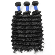10A Brazilian Human Hair Deep Wave 3 Bundles With 4*4 Lace Closure