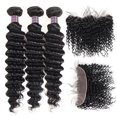 Ishow Malaysian Deep Wave 3 Bundles With 13*4 Lace Frontal Virgin Human Hair Extensions