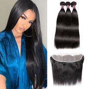 Hairsmarket Brazilian Straigth Hair With Transparent Lace Frontal 3 Bundles Human Hair With Frontal