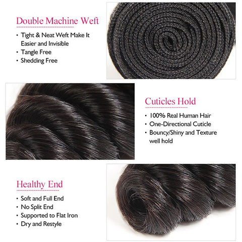9A Allove Loose Wave Virgin Hair 3 Bundles With One FREE Closure