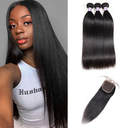 9A Allove Straight Hair 3 Bundles Human Hair With One FREE Closure