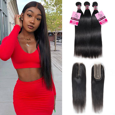 8A Quality Straight Human Hair 3 Bundles With 2*6 Lace Closure
