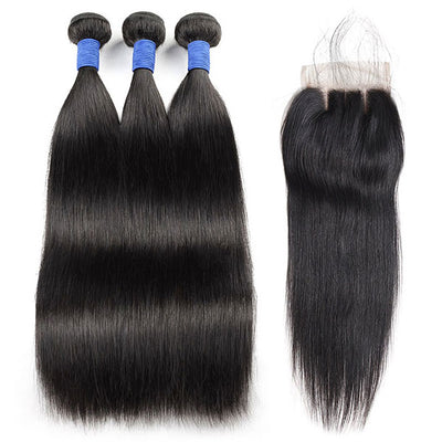 Brazilian Hair Straight Hair 10A Virgin Hair 3 Bundles With 4*4 Lace Closure