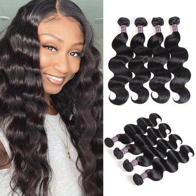 Malaysian Human Hair 4 Bundles Virgin Remy Body Wave Hair Extensions