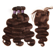 #2 Virgin Human Hair Body Wave 3 Bundles With Lace Closure For Sale