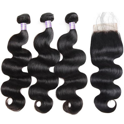 Allove 9A Virgin Brazilian Body Wave Human Hair 3 Bundles With 4x4 Lace Closure