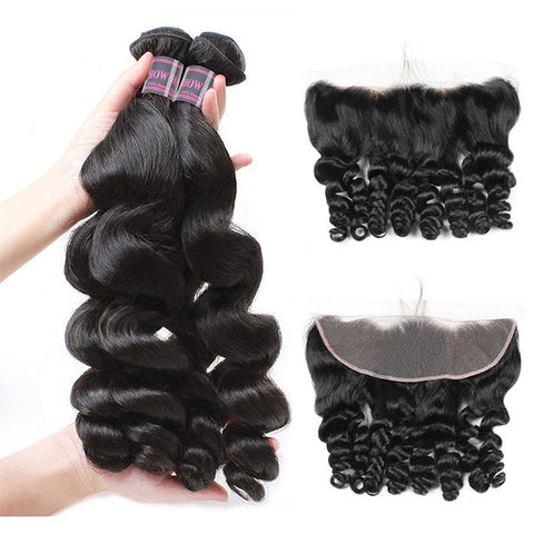 Ishow Loose Wave Virgin Human Hair 4 Bundles With Lace Frontal Closure Unprocessed Malaysian Hair