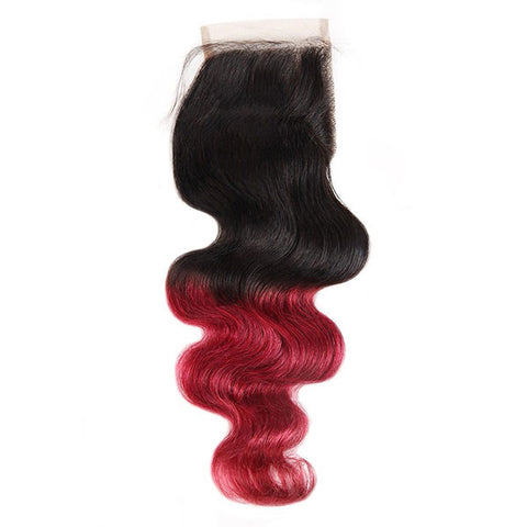 Ombre Body Wave Human Hair Bundles With Lace Closure T1B/Burgundy