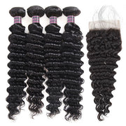 Ishow Unprocessed Deep Curly Hair 4 Bundles With 4x4 Lace Closure Virgin Malaysian Hair