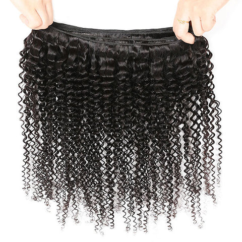 Ishow Virgin Kinky Curly Human Hair 4 Bundles With Lace Frontal Closure 100% Indian Hair