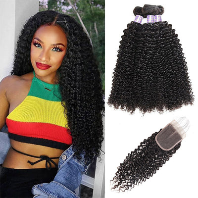9A Allove Curly Hair 3 Bundles Human Hair With One FREE Closure