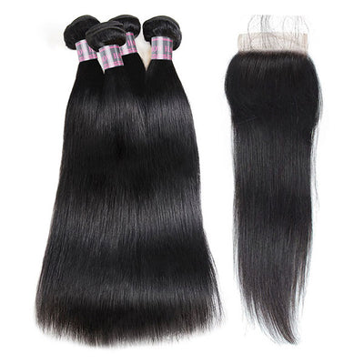 Ishow Straight Peruvian Virgin Human Hair 4 Bundles With Lace Closure