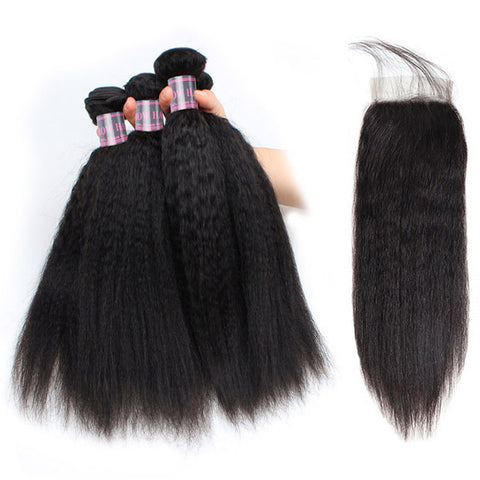 Ishow Yaki Straight Human Hair Weave 4 Pcs With 4x4 Lace Closure Unprocessed Malaysian Hair