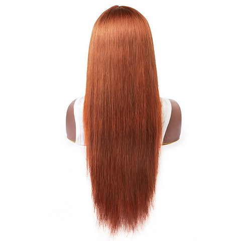 2 Pieces Wigs Full Machine Made Wigs, 99j# Human Hair Wigs, Ginger Color No Lace Wigs With Bangs
