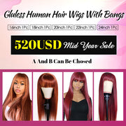 $520 Flash Sale Colored Human Hair Wigs With Bangs Machine Made Wigs