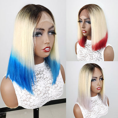 613 Blonde Hair Wigs 150% Density Short Bob Lace Wigs Ombre Colored Lace Wigs (Pink Purple Blue)