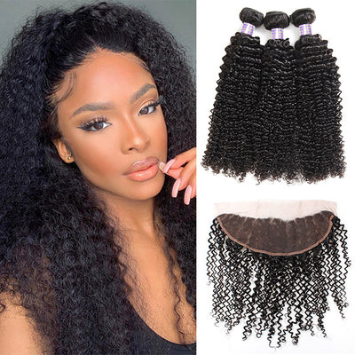 10A Kinky Curly Hair 13*4 HD Lace Frontal With 3 Bundles Human Hair