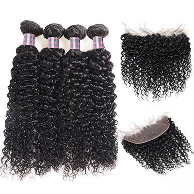 Ishow Kinky Curly Peruvian Human Hair 4 Bundles With 13x4 Lace Frontal With Baby Hair