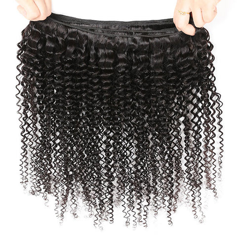 9A Curly Hair 100% Virgin Human Hair 3 Bundles With Closure (Buy 3, Get 1 Free)