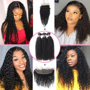 Kinky Curly Hair With Lace Frontal Unprocessed Virgin Human Hair 13*4 Customized Lace Wigs