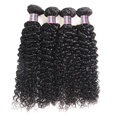Ishow Peruvian Human Hair Curly Wave 4 Bundles With 4x4 Lace Closure