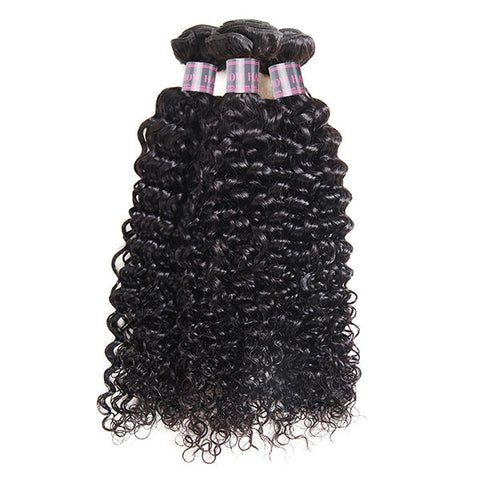 8A Virgin Curly Hair 3 Bundles Human Hair With Lace Closure (Buy 3,Get 1 Free)