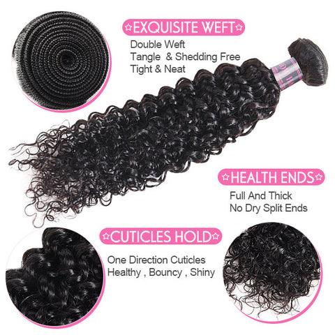 Indian Virgin Curly Hair 3 Bundles With 4*4 Lace Closure 100% Human Hair