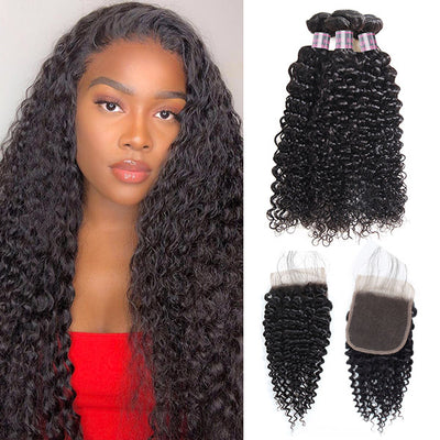 Brazilian Curly Wave 3 Bundles With 4*4 Lace Closure 8A Unprocessed Virgin Human Hair