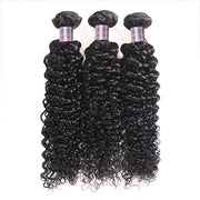 Ishow Peruvian Curly Wave Human Hair 3 Bundles With 4*4 Lace Closure Virgin Hair