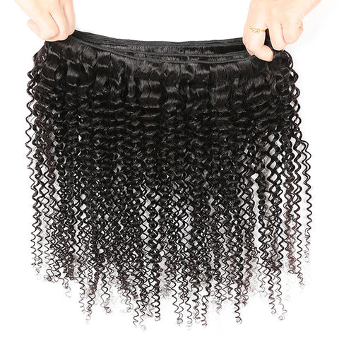 10A Brazilian Hair Curly Remy Human Hair 3 Bundles With Lace Closure