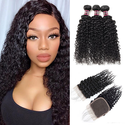 Hairsmarket Brazilian Curly Hair 3 Bundles With Lace Closure