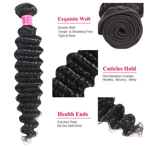 Meetu 8A Brazilian Deep Wave 3 Bundles Virgin Unprocessed Human Hair Extensions