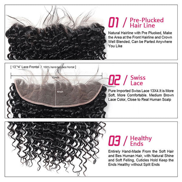 Ishow Hair Deep Wave Human Hair Ear To Ear Lace Frontal