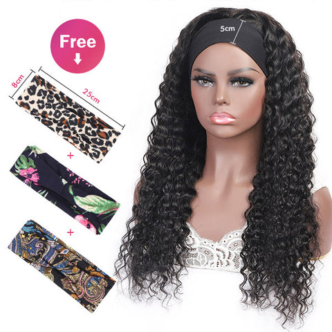 Deep Wave Headband Glueless Wigs 100% Virgin Human Hair