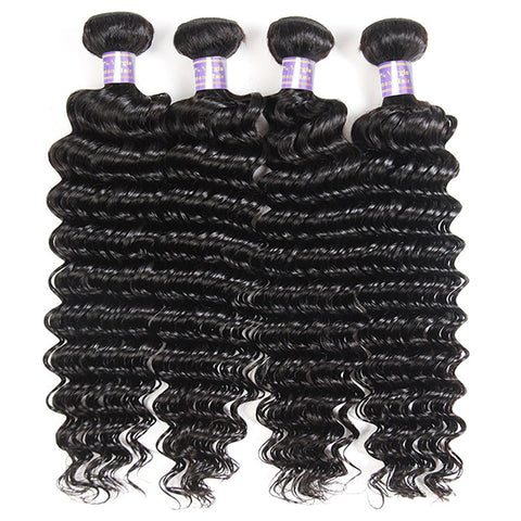 Allove 9A Deep Wave Virgin Hair 4 Bundles Unprocessed Brazilian Human Hair Extensions