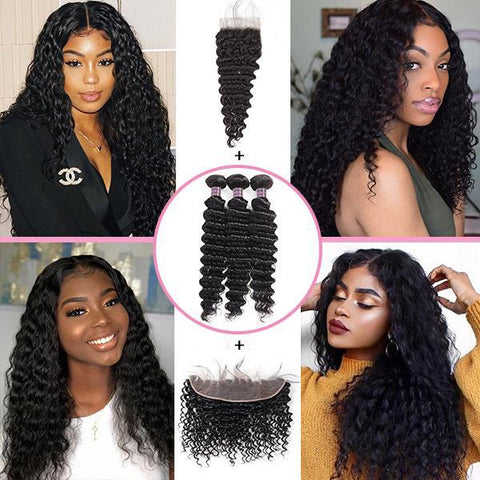 Deep Wave Virgin Remy Hair With 4*4 Lace Closure 10A Virgin Human 4*4 Lace Wigs