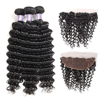 Allove 9A 3 Bundles Deep Wave Human Hair With Lace Frontal Closure Unprocessed Brazilian Hair