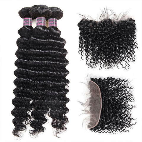 Ishow Malaysian Virgin Deep Wave Human Hair 4 Bundles With 13x4 Lace Frontal With Baby Hair