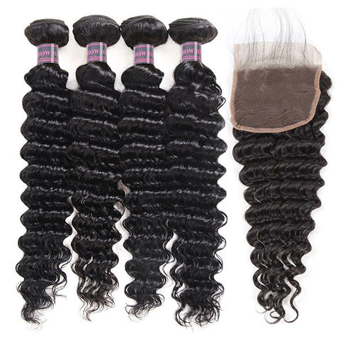 Ishow Brazilian Deep Wave Human Hair 4 Bundles With Lace Closure
