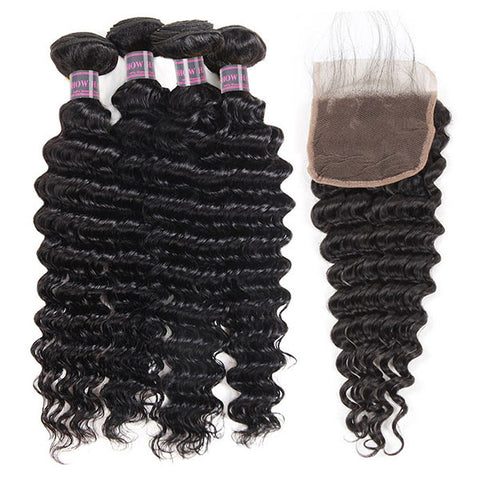 Ishow Virgin Deep Wave Human Hair Weave 4 Bundles With Lace Closure 100% Peruvian Hair