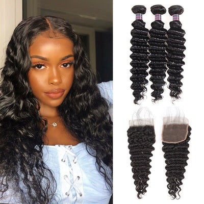 Virgin Malaysian Deep Wave Hair 3 Bundles With 4*4 Lace Closure 100% Unprocessed Virgin Hair